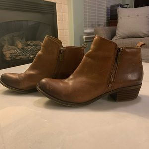 Lucky Brand Basel Booties Brown Leather